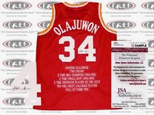 Hakeem Olajuwon Houston Rockets Stat Signed Jersey JSA