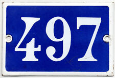 Old blue French house number 497 door gate plate plaque enamel steel metal sign