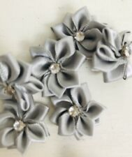 10 X Light Grey Satin Type Flower Ribbons Sewing Craft Embellishments Scrapbook