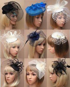 Wedding/Races/Funeral Flower Veil Ribbon Hat Hair Fascinator Clip/Comb/Headband