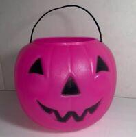 Halloween Pink Blow Mold Jack-O-Lantern Pumpkin Candy Treat Bucket Pail