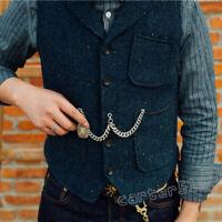 Retro Men's British Style Casual Wool Blend Tweed Slim Fit Formal Vest Waistcoat