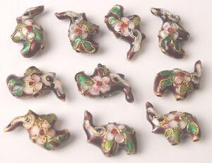 10PCS of Cloisonne Enamel Diamond Flower Oval Cat Moon Elphant Squre Heart Beads