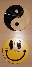 Smiley Face Clock and Yin Yang Clock 2 x Hand Painted Clocks Wooden Unique