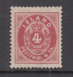Iceland Sc 2 Numeral 4 Skilling Dark Carmine VF Mint Hinged