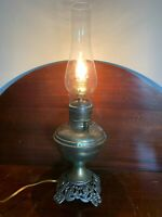 Vintage brass oil lamp converted electric Aladdin type w Chimney fancy base