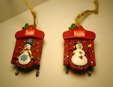 New Personalized Name Christmas Ornament Snowman Snow Sled