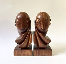 Pair of Antique Art Deco Carved Wood Head Sculptures After Brancusi Mlle. Pogany
