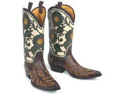 Amazing Liberty Cowboy Boots - Wm's 8.5M Brown Sunflower Motif Excellent Cond