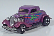 "Hot Wheels 1934 34 Ford 3 Window Coupe 2.75"" Diecast Scale Model Purple Race"
