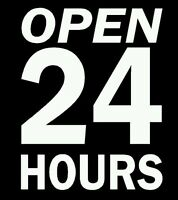 """ Open 24 Hours "" Vinyl Decal / Sticker / Sign For Any Business"