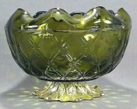 Indiana Glass Duette Green Gold Metal Base Rose Bowl Candy Dish