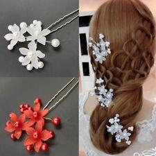 Mariage Soirée Bal Cheveux Peigne Bâton Fleurs Blanc Ou Rouge Chignon Brillant