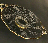 CAMBRIDGE GLASS ETCHED HANDLED PLATE ELAINE PATTERN BRUSHED GOLD TRIM