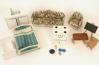 Vintage Wooden Miniature Dollhouse Furniture Set of 14 AB5