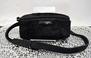 100% Authentic Prada Waist Bag  Black Faux Fur Belt Bag Fanny Bag
