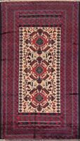 Tribal Geometric Balouch Afghan Hand-Knotted Oriental Area Rug Wool Carpet 3'x6'