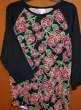 NWOT LULAROE RANDY 2XL BLACK SLEEVES RED ROSES FLORAL BODY  **UNICORN**
