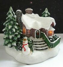 Thomas Kinkade Teleflora A Village Christmas Brick Cottage with Snowman 2002