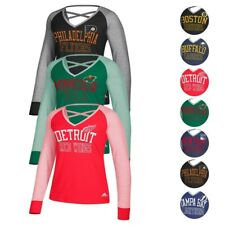 NHL Adidas Women's Contrast Long Sleeve Team Graphic T-Shirt Collection