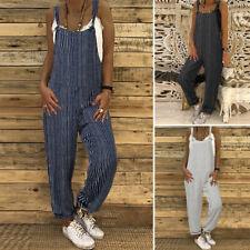 ZANZEA Womens Strappy Wide Leg Bib Pants Overalls Jumpsuit Playsuit Long Romper
