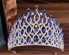 Drip beaded 11cm High Luxury Blue Crystal Wedding Party Pageant Prom Tiara Crown