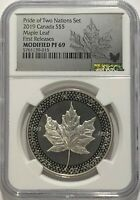 2019 $5 SILVER PRIDE OF TWO NATIONS CANADIAN NGC PF69 FR MODIFIED PROOF CANADA