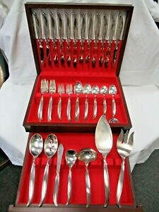 78pc 1847 Rogers Bros IS Flair Pattern Service for 12 Flatware Set & Serving Pcs