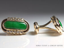 VINTAGE APPLE GREEN OBLONG JADE & DIAMOND CUFF LINKS 18K YELLOW GOLD CUFFLINKS