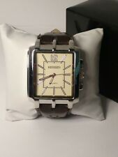 B078 JCPennys Hennessey Chocolate Brown Faux Leather  Thick band Unique Watch