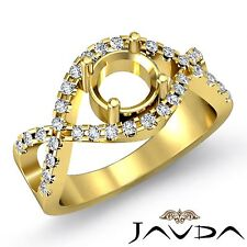 18k Yellow Gold Round Semi Mount 0.5Ct Diamond Engagement Cross Shank Prong Ring