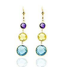 14K Yellow Gold Multi-Colored Round Cut Gemstones Dangling Earrings