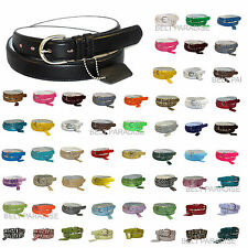 WOMEN/LADIES Skinny Leather Belt 4 sizes Available - 52 COLORS in Stock