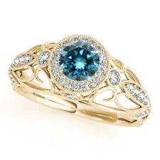 1.05 Ct Fancy Blue Diamond Halo Engagement Ring Stylish 14k Yellow Gold Beauty
