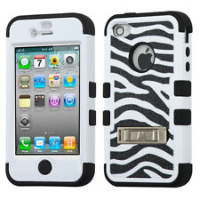 HYBRID SHOCKPROOF CASE W/STAND TUFF COVER + SCREEN PROTECTOR FOR iPHONE 4 4S