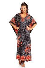 Ladies Plus Size Maxi Tribal Ethnic Print Tunic Kaftan Evening Party Size 16 18