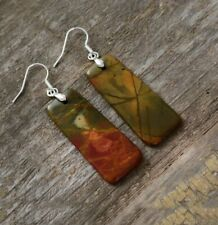 Beautiful Handmade Picasso Jasper Silver Dangle Drop Earrings Natural Stone
