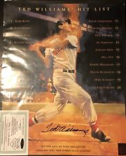 Ted Williams Signed Hit List 16x20