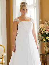 David's Bridal Size 18W White Satin ALine Gown,detach. Cap Sleeves, Chapel Train