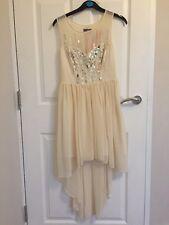 10 LIPSY DRESS CREAM SEQUIN DIP HEM FLOATY CHIFFON WEDDING SUMMER BRIDESMAID