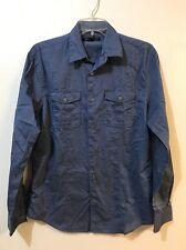 John Varvatos Star USA Mens Small Blue Cotton Long Sleeve Utility Shirt