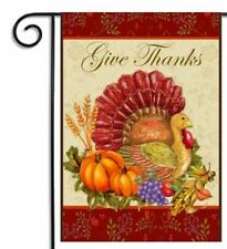 "Give Thanks Welcome Flag Thanksgiving Turkey Garden Fall 12"" x 18"" Autumn Guests"