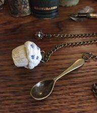 Cupcake Bronze Car Charm, Polymer Clay Cupcake, Spoon, Flower, Knot & Swarovski