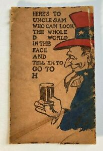 Uncle Sam Patriotic c1905 LEATHER Postcard Here's To Uncle Sam Drinking A Beer