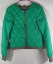 Fossil Feather Down Quilted Puffer Jacket Coat SZ 8 Medium Green Grey Zip Womens