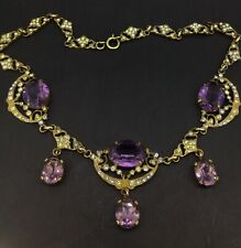 ANTIQUE MAJESTIC NECKLACE GOLD PLATED AMETHYST WHITE PASTE FLAMBOYANT CIRCA1900