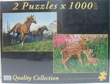 PUZZLE 2 pz x 1000 - 1° CAVALLI AL GALOPPO / 2° PICCOLI CERBIATTI - cm 67,7X47,7