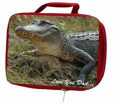 More details for crocodile 'love you dad' insulated red school lunch box/picnic bag, dad-146lbr