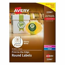 """AVERY 22961 Glossy White Round 2""""  Diameter Labels, (3 Sheets / 36Labels)"""
