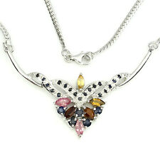 GORGEOUS NATURAL FANCY TOURMALINE,BLUE SAPPHIRE STERLING 925 SILVER NECKLACE 18